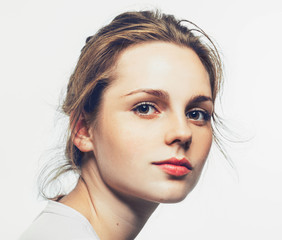 Portrait of fun attractive woman with clear skin beautiful face