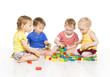 Children Group Playing Toy Blocks. Little Kids Early Development - 79883990