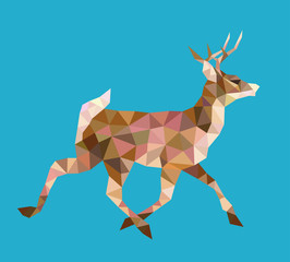 Walking deer low poly vector