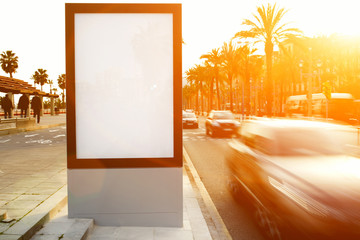 Blank billboard, advertising mock up, public information board