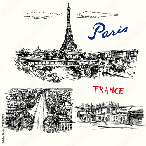 France, Paris, Eiffel tower - hand drawn vector collection - 79884723