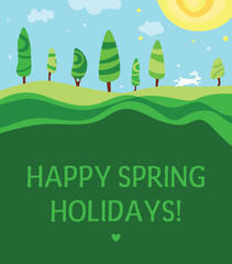 Easter greeting card. Green landscape, sun and easter bunny