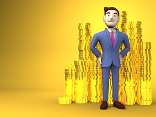 Smile Businessman With Coins On Yellow Text Space