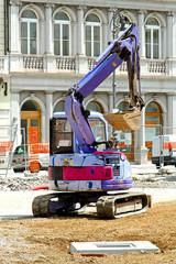 Purple excavator