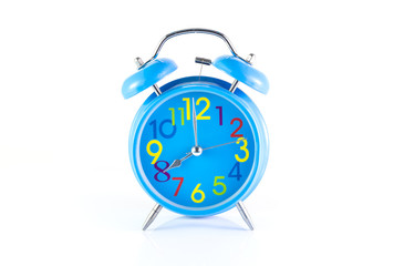 Alarm Clock isolated on white, in blue, showing eight o'clock.