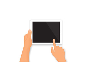 Human hands hold a tablet pc