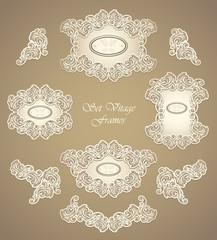 Set vintage frames in in pearly beige