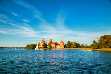 Trakai castle built in the cantre of the lake