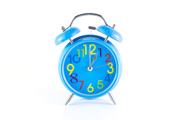Alarm Clock isolated on white, in blue, showing one o'clock.