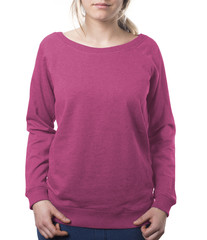 woman wearing plain pink pullover