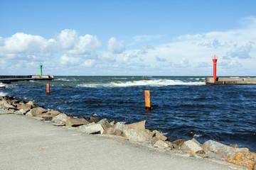 Seaport in Mrzeżyno in Poland in fine weather