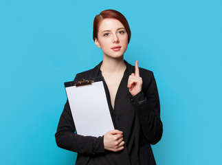 Surprised business woman portrait