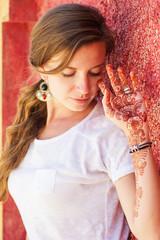 Mehendi on the hand of pretty girl