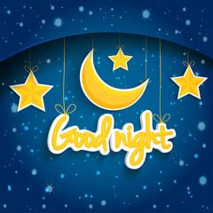 Cartoon star and moon wishing good night. Vector background EPS1