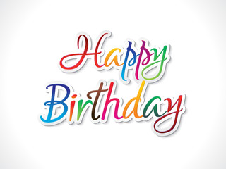 abstract artistic colorful birthday sticker