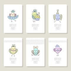 Set cards with cute birds in different actions.