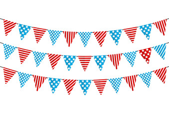 Color party flags isolated on white