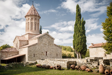 Monastery, wine jugs