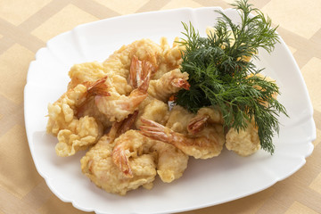 Tiger prawns in batter