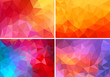 red and pink low poly backgrounds, vector set - 79891341