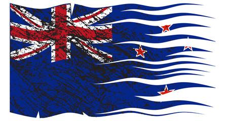 Wavy Zealand Flag Grunged