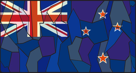 New Zealand Flag Stained Glass Window