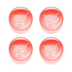 Glassy shopping icons. Vector illustration