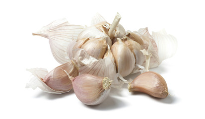 Loose garlic natural isolated on white background