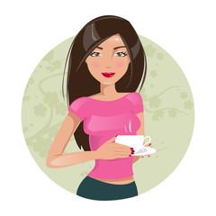 Girl drinking coffee. Vector illustration