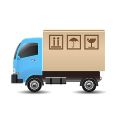 ベクター、段ボール箱を載せた宅配トラック