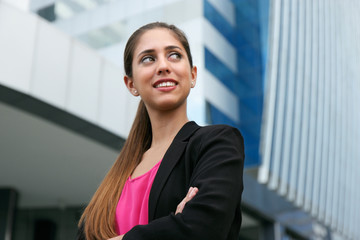 Portrait Confident Business Woman Looking Copy Space