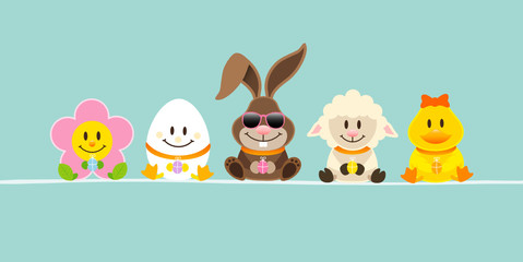 Easter Rabbit Sunglasses & Friends Retro DIN