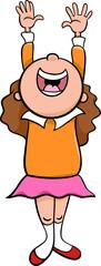 happy girl cartoon illustration