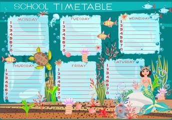 School timetable with mermaid