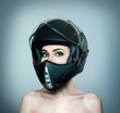 Beautiful girl in black helmet - 79894914