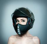 Beautiful girl in black helmet