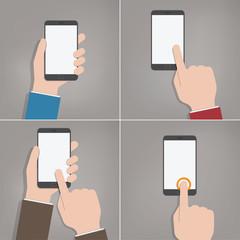 Hands holding Mobile Devices - Flat Design Set
