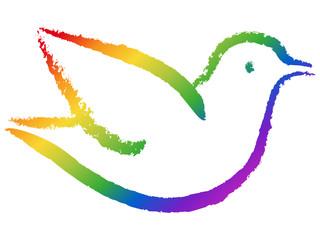 Freihandzeichnung einer Taube in Regenbogenfarben, freigestellt