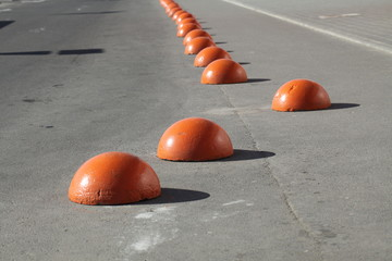 fencing of parking spaces.concrete hemisphere-fencing of parking