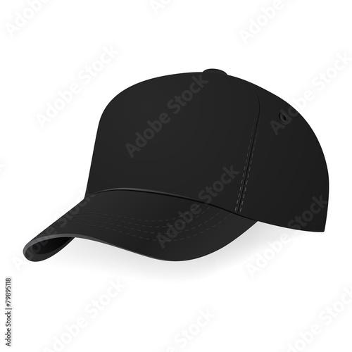 Vector illustration of black baseball cap in a half-turn - 79895118