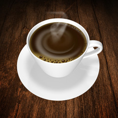 coffee white cup on wood background