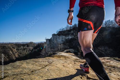 Leinwandbild Motiv Healthy Trail run on the hills