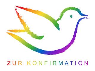 Konfirmationskarte: Handgezeichnete Taube in Regenbogenfarben