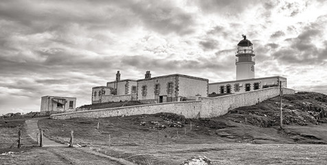 Neist Point Lighthouse BW HDR