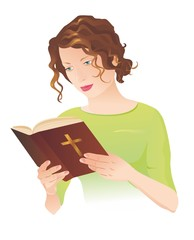 Young woman with Bible. Vector