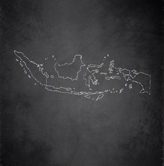 Indonesia map blackboard chalkboard vector