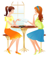 Two girls reading Bible. Vector illustration