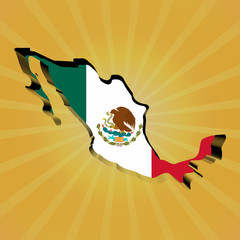 Mexico sunburst map with flag illustration