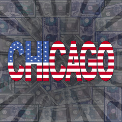 Chicago flag text on dollars sunburst illustration