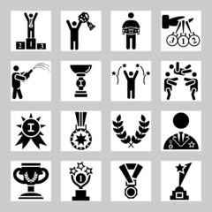 Award and success vector icons set